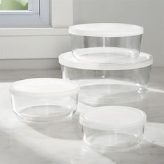 Round Storage Bowl Set - Crate and Barrel Glass Food Storage, Food Storage Containers, Glass Containers, Kitchen Supplies, Kitchen Items, Kitchen Tools, Kitchen Stuff, Kitchen Things, Kitchen Products