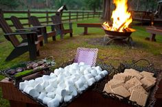 After a long & perfect picnic. What could top the evening but a nice bonfire w/a smore's bar while everyone gets comphy for movie nite #AuntNellies #READsalads #ANRpicnic