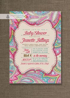 Pink Paisley Baby Shower Invitation Linen Texture Typography Baby Girl Sprinkle Pink Fuchsia DIY Digital or Printed - Jeanette Style on Etsy, $23.00