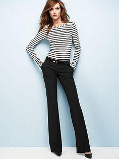 Classic look for an easy transition from desk to dinner from Victoria's Secret #womens #business #slacks