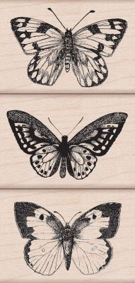 Three Artistic Butterflies Woodblock Stamp Set, large