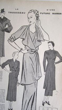 Vintage French Magazine Mode Pratique January 1937 by Mrsdepew, $15.00 Maternity clothes? Swoon-y collar. 1 sleeve?