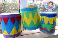 Trommels maken met kleuters 2, thema muziek, kleuteridee.nl Big Top Circus, Little People, In Kindergarten, Life Skills, Windmill, Preschool Activities, Musicals, Projects, Crafts