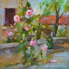 """""""Hollyhock Happy in France"""" 12 x 12in oil on museum quality panel DreamaTollePerry.com"""