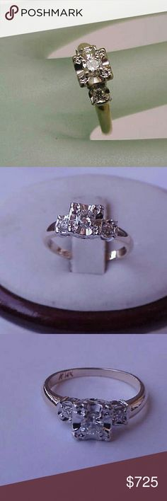 Art deco 14k gold .30ct diamond engagement ring Center diamond approx.   .25ct (3.9mm) and 2 more diamonds approx.   .06ct (2mm each ). vs in clarity and h in color.  Weight 2.2gr. Size 4 1/2. Jewelry Rings