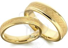 Matching Wedding Rings,His & Hers Wedding Rings,10K Yellow Gold Wedding Bands,Matching Wedding Bands,Womens Wedding Rings,Mens Wedding Rings by TallieJewelry on Etsy