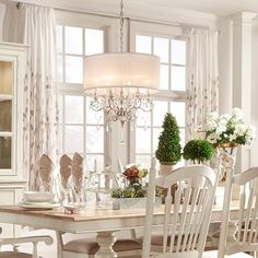 Add style and sophistication to any room in your home with the Silver Mist hanging crystal chandelier from Tribecca Home. Hanging crystals help disperse a rainbow of colors throughout your room, and t Drum Shade Chandelier, Dining Chandelier, Dining Room Lighting, Chandeliers, Chandelier Ideas, Drum Lighting, Pendant Lighting, Country Chandelier, Table Lighting