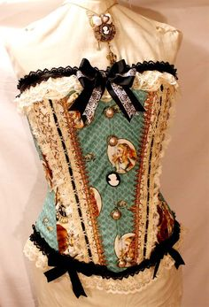 Cameo Alice in Wonderland Steampunk Corset