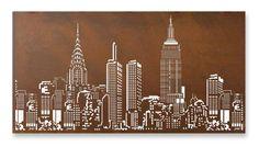 'New York Skyline' metal art lightbox