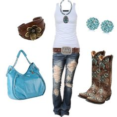 "This outfit is perfect for a school look or if you are going out with friends or family for a ""fun day"". The outfit shows the brown and blue that is shown through it. It gives it that country little cow girl feel. Which I am in love with"
