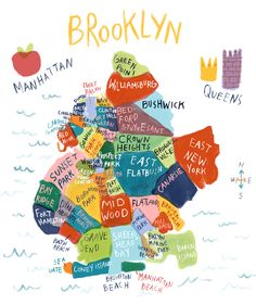 Illustration map of brooklyn by sarah green Brooklyn Map, Brooklyn New York, Brooklyn Girl, A New York Minute, Empire State Of Mind, City Maps, New York City Map, I Love Ny, Concrete Jungle