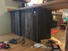 Cupboard with sliding barn door! Antique Items, Cupboard, Beams, Armoire, Rustic, Doors, Decorating, Antiques, Furniture
