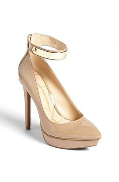 Neutral and gold! Perfect for spring and summer with a white dress or suit!  Jessica Simpson Ankle Strap Pointy Toe Pump available at #Nordstrom