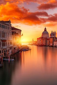 Venice, Italy...After a whole day wandering around the narrow streets and marble churches don't miss watching the sunset from a gondola or the Bridge of Sighs in Venice.