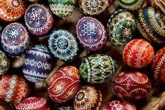 Easter eggs painted in traditional Sorbian motives awe and inspire