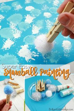 Your preschool kids will love this Super Easy Snowball Painting art for kids. You can even add glitter for a cute & fun Preschool Art Projects, Toddler Art Projects, Daycare Crafts, Preschool Art Centers, Painting Crafts For Kids, Toddler Arts And Crafts, Craft Projects For Kids, Winter Fun, Winter Theme