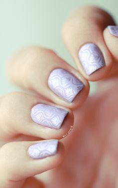 Create the design using nail stamping (plate m83 by Konad for this design)