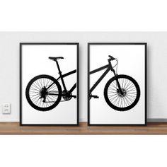 Zestaw dwóch plakatów z rowerem górskim MTB do oprawienia w ramy i do powieszenia na ścianę