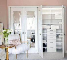 Top 50 Best Closet Door Ideas - Unique Interior Design Ideas Make A Closet, Girl Closet, Closet Bedroom, Home Bedroom, Bedrooms, Folding Closet Doors, Mirror Closet Doors, Mirror Door, Leaning Bookshelf