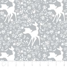 Bambi Fabric / Silhouette in Grey Bambi Material / Disney Fabric for Camelot 85040105 #3 / By The Yard and Fat Quarter by SewWhatQuiltShop on Etsy