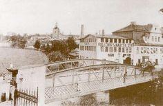 Turnov - most přes malou Jizeru, v pozadí továrna firmy Šefr zal. v r. 1895