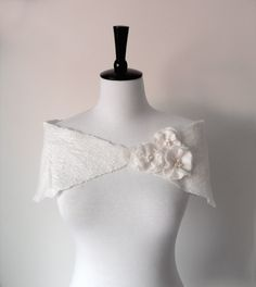 Bridal Shawl Capelets White Ivory Wedding Stole by softadditions, £36.00