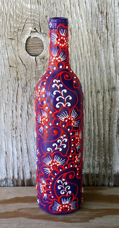 Hand Painted Wine bottle Vase Up Cycled Purple White by LucentJane