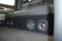 """Custom under the seat enclosure in 2014 F-150. Four 6"""" Massive Audio Subwoofers by Underground Autostyling"""