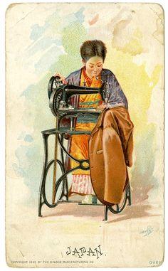 Singer Sewing Machine's World, 1892, Japan Trade Card