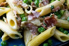 Penne Di Parma With Butter, Garlic, Peas, Prosciutto, Milk, Light Cream, Ronzoni Penne Rigate, Grated Parmesan Cheese, Fresh Parsley