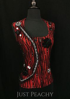Black and Red Vest by Kimberly's Kreations ~ Ladies XS