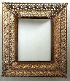 VTG.  GOLD METAL FILIGREE ornate  8 x 10 PICTURE FRAME gold/white WIDE FRAME  #Unbranded #HollywoodRegency