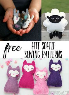 Sew with free felt stuffed animal sewing patterns! Felt softie patterns are fun to embroider and sew; wool felt doesn't fray and is great for beginners. #sewing #felt #freepatterns