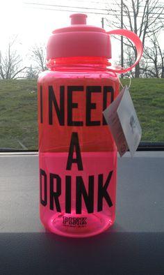 my sexy new water bottle. <3 Victoria's Secret Pink