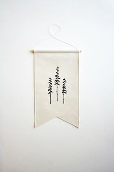 Small Canvas Banner - Three Trees - Wall Flag - Canvas Flag - Wall Banner by SmallBranches on Etsy https://www.etsy.com/listing/271281105/small-canvas-banner-three-trees-wall branch dowel!!