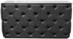 Diamond Tufted 6' Bar - Black Leather