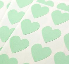 FREE SHIPPING - 108 Pistachio Green Hearts - Mini 3/4 inch Pastel Sticker Labels. $5.00, via Etsy.