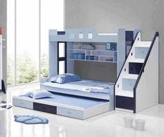 Great bed for kids room. Easy to get on and off the top bunk with stairs and a pull out for sleepovers