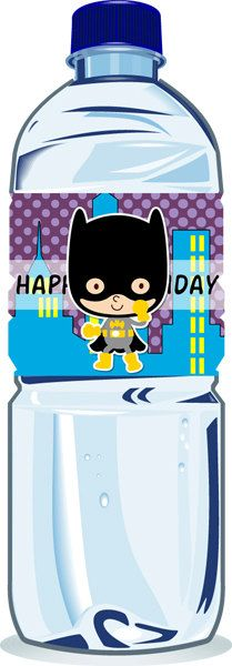 Personalized Superhero Water Bottle Labels by CherryBerryDesign