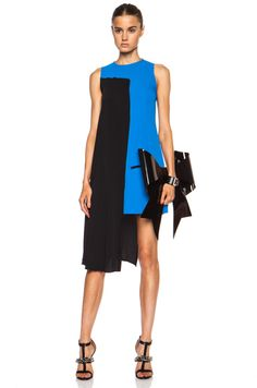 MM6 by maison martin margiela Pleated Tank Poly Dress in Comic Blue