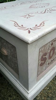 Shabby chic toy box in Annie Sloan chalk paint with stencil detailing, by Imperfectly Perfect xx