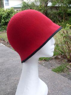 Red Felt, Felt Hat, Wool Felt, Fishers Hat, Cloche Hat, Two By Two, Hats, Pretty, Fashion