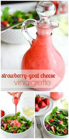 Berry Salad with Strawberry-Goat Cheese Vinaigrette & Basil - Perfect summer salad recipe and that dressing is amazing! Healthy and 21 Day Fix approved!