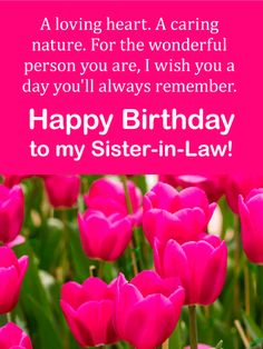 Send Free Pink Tulip Happy Birthday Card For Sister In Law To Loved Ones On Greeting Cards By Davia