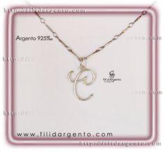 """Pendente Iniziale """"C"""" Wire in Argento 925‰ / Pendant Initial """"C"""" Wire Silver 925‰"""