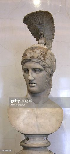 Head of Ares, God of War, early 2nd century. After the Greek original of the 420s BC, by Alkamenes. The equivalent of Ares in the Roman pantheon was Mars. Found in the collection of The Hermitage, St Petersburg.