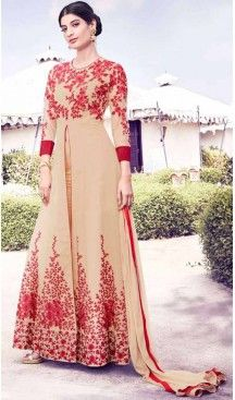 Achkan Style Georgette Fabric Party Salwar Suit in Beige Color   FH520078958 #heenastyle , #boutique , #pakistani, #salwar , #kameez , #suit , #dresses , #styles , #fashion , #clothing , #henna , #designs , #mehndi , #more , @heenastyle , #party , #online
