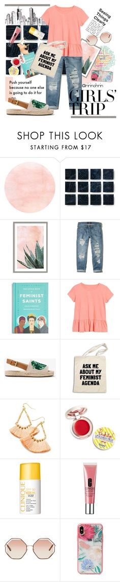 """feminism x ruffle"" by rindularas on Polyvore featuring Art Addiction, Hollister Co., Madewell, Caslon, Supergoop!, Clinique, Chloé, Kate Spade, ruffles and RuffLyfe"