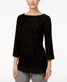 Charter Club Petite Velvet Boat-Neck Tunic, Only at Macy's | macys.com