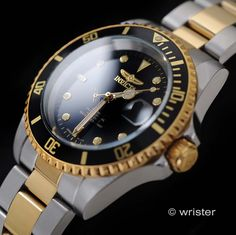 - About - Specs - Size Dive into luxury with this authentic Gold plated black dial men's watch from Invicta's Pro Diver Collection. The stylish coin-edge bezel offers a dramatic finish to the 40 m Best Watches For Men, Luxury Sunglasses, Sapphire Earrings, African Jewelry, Beautiful Watches, Mechanical Watch, Blue Sapphire, Gold Watch, Rolex Watches